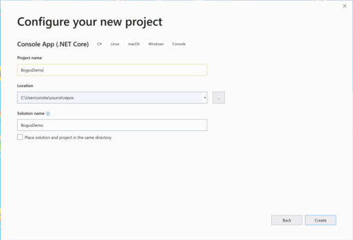 choose a project and solution name