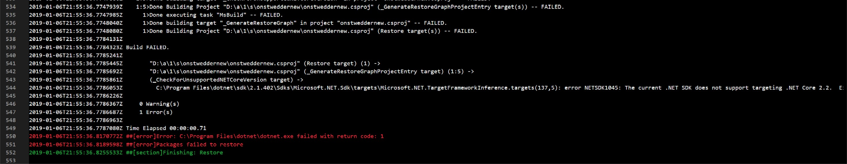 error NETSDK1045: The current .NET SDK does not support targeting .NET Core 2.2